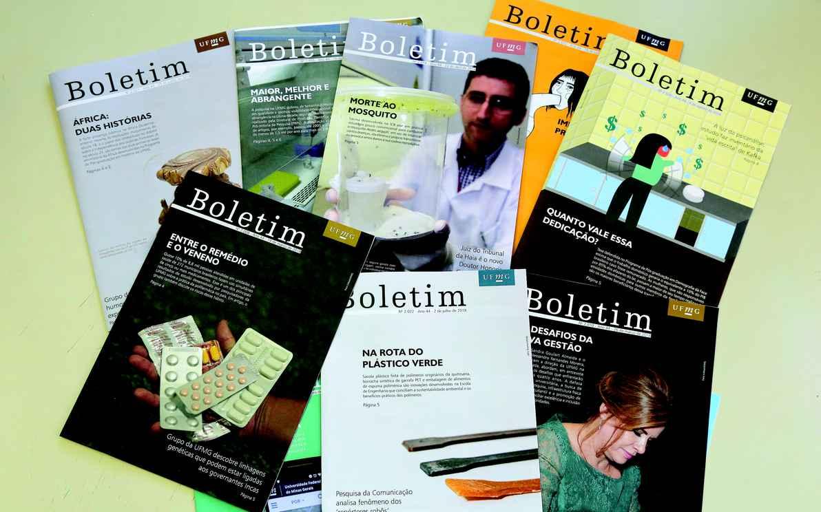 Capas de edições recentes do BOLETIM, que circula ininterruptamente há 45 anos