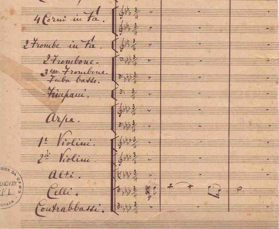 Trecho da primeira página da Ópera Tiradentes