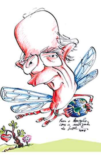 Charge do cartunista LOR (Luiz Oswaldo Rodrigues) em homenagem ao amigo Ângelo Machado