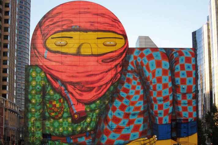 Mural pintado pelos irmãos Otávio e Gustavo Pandolfo, em Boston, EUA