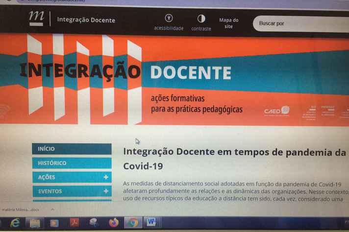 Tela da página do programa Integração Docente