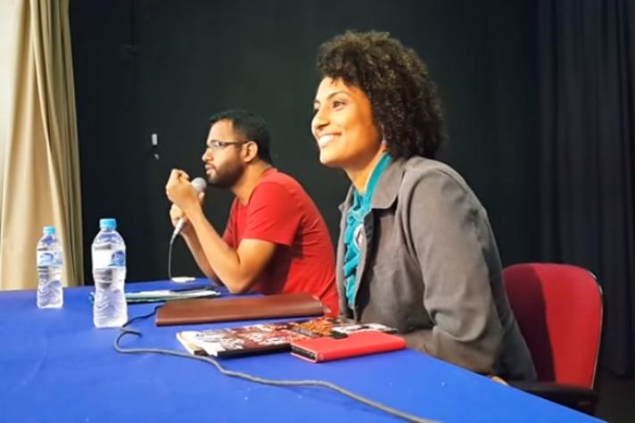 Henrique Vieira e Marielle Franco, em debate com o tema 'Estado e Violência', no IFRJ Pinheiral, em 2015