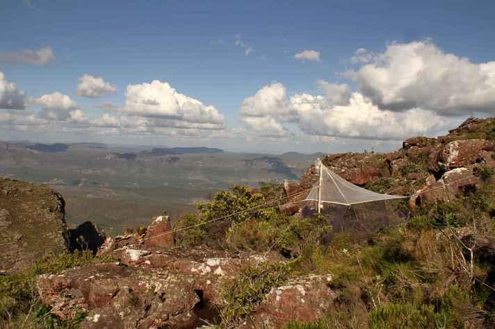 Armadilha malaise, que é usada para capturar insetos, no Pico do Barbado, na Bahia.