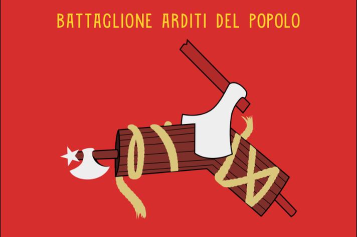 Bandeira do Arditi del Popolo, uma das organizações antifascistas da Itália, que mostra um machado cortando o fasces (símbolo adotado pelo fascismo).