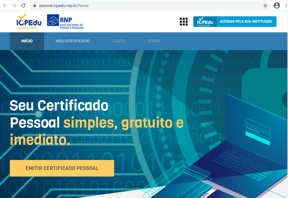 Tela inicial para emissão do certificado digital individual