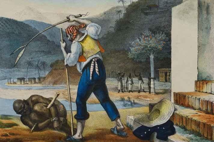 Obra Castigo de escravo, de Jean-Baptiste Debret, artista que retratou aspectos da vida colonial no Brasil