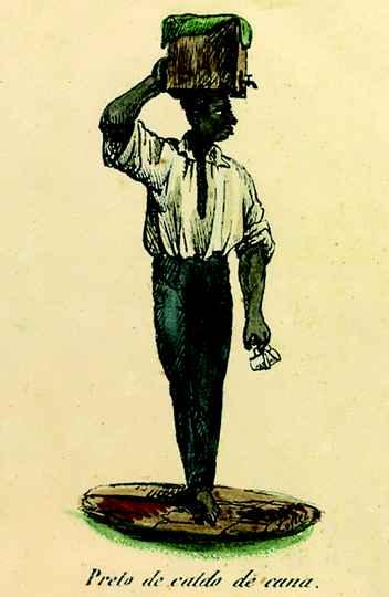 Escravo vendedor de caldo de cana, na obra de Joaquim  Lopes de Barros (1840)
