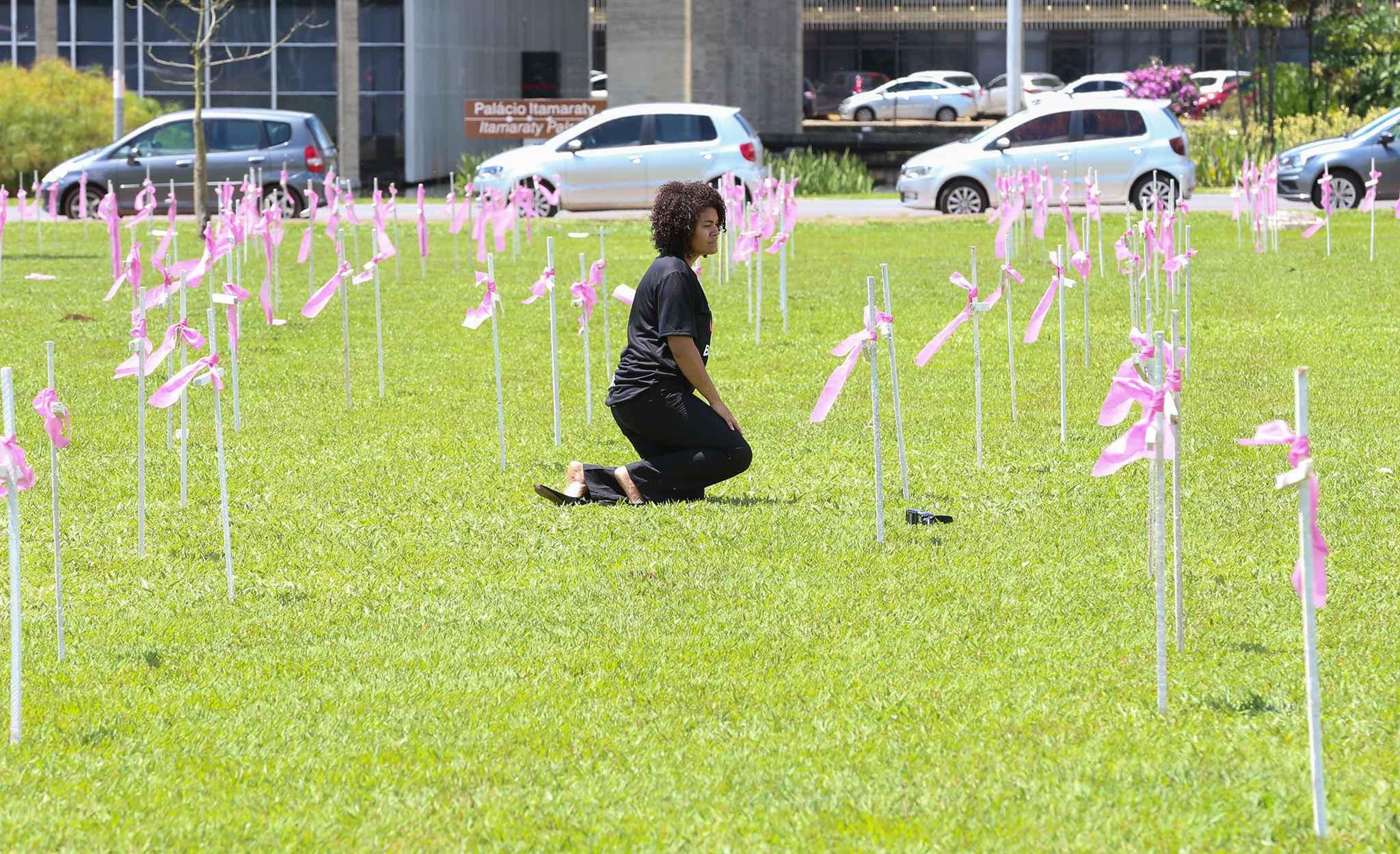 Cruzes em frente ao Congresso lembram Dia Internacional de Combate à Violência Contra a Mulher