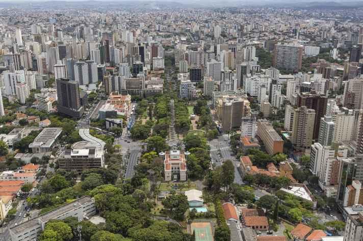 Vista aérea da região central da cidade