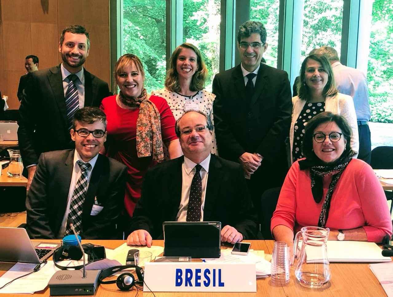 Fabrício Polido (em pé, à esquerda) e a delegação brasileira na Haia