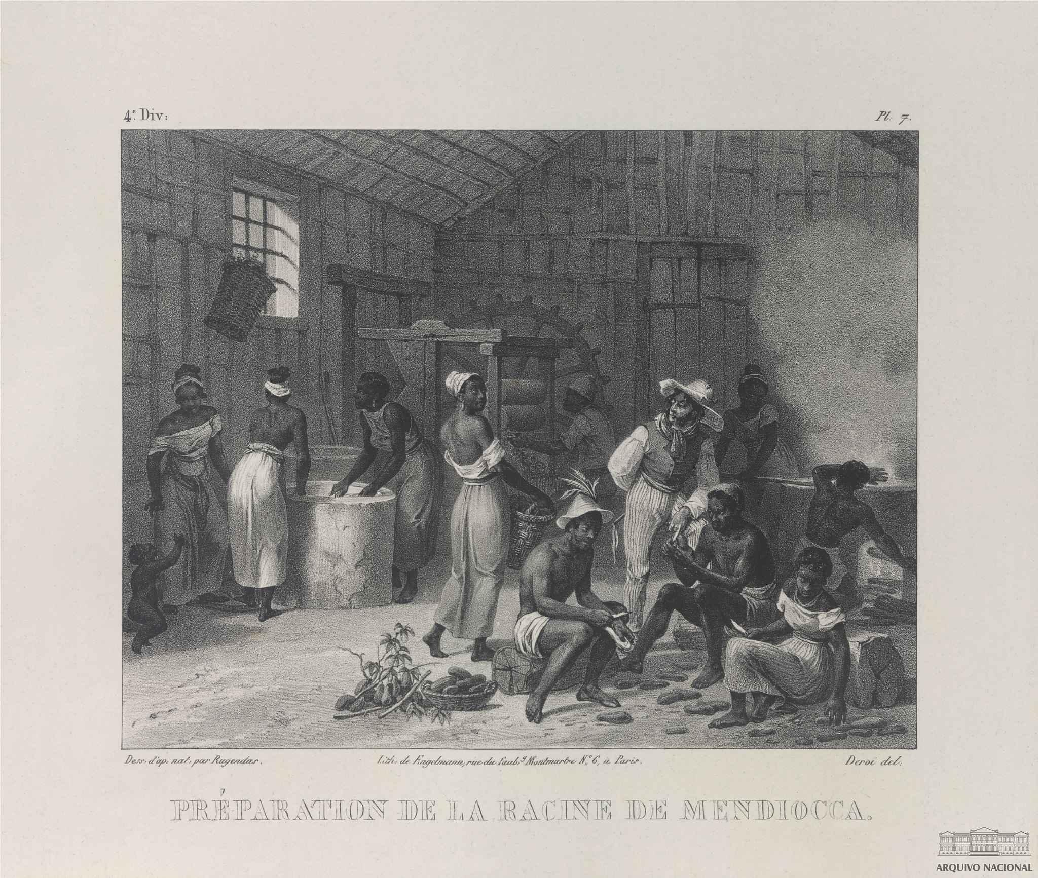 'Préparation de la Racine de mendiocca' (Preparação da raiz de mandioca), gravura que integra a obra 'Voyage pittoresque dans le Bresil', de Johann Moritz Rugendas, 1835