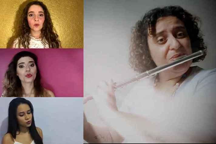 No vídeo, flautista e cantoras ficam