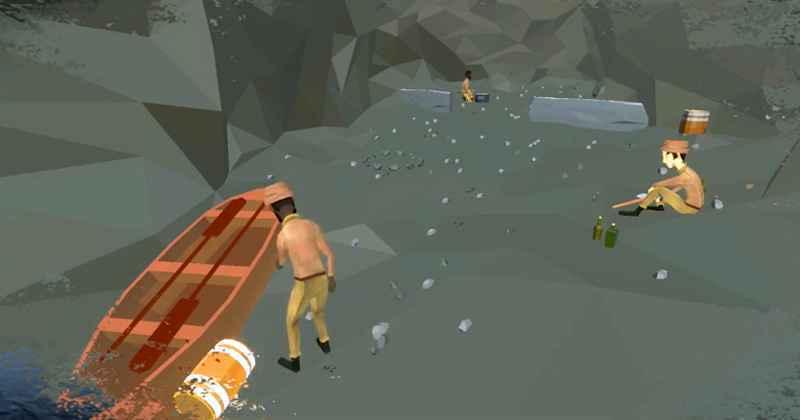 Personagens em ação no protótipo do jogo Arqueologia Antártica