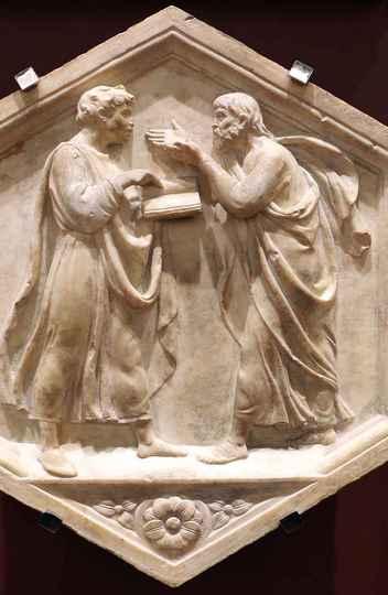 'Platão e Aristóteles, ou Filosofia', painel de mármore no Campanário de Giotto, em Florença