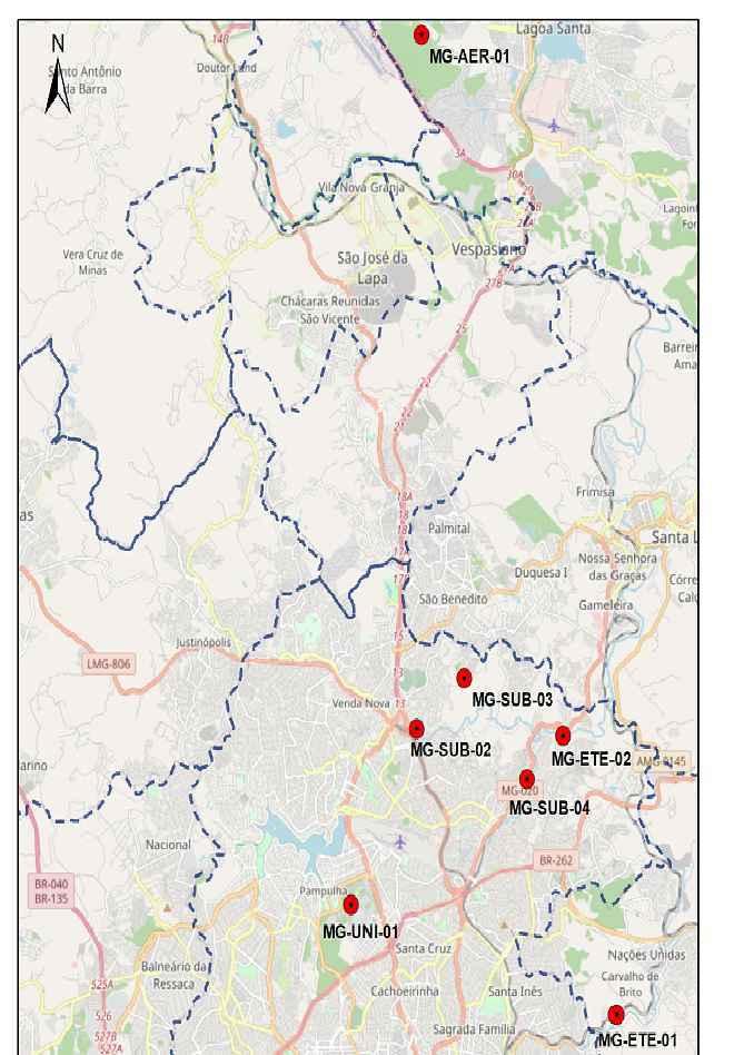 Mapa indica pontos de coleta em Belo Horizonte