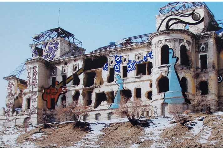 Peça de Dreams of grafitti, de Shamsia Hassani: fricção entre real e imaginário