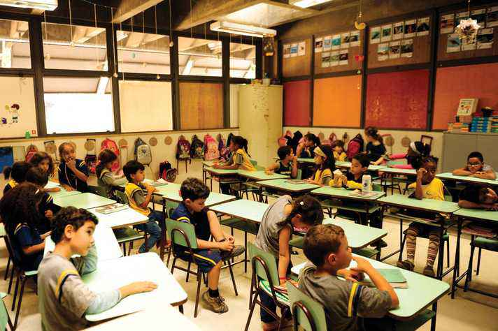 Sala de aula do ensino fundamental, no Centro Pedagógico da UFMG