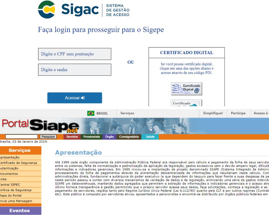 Homepage dos portais do Siape e Sigepe