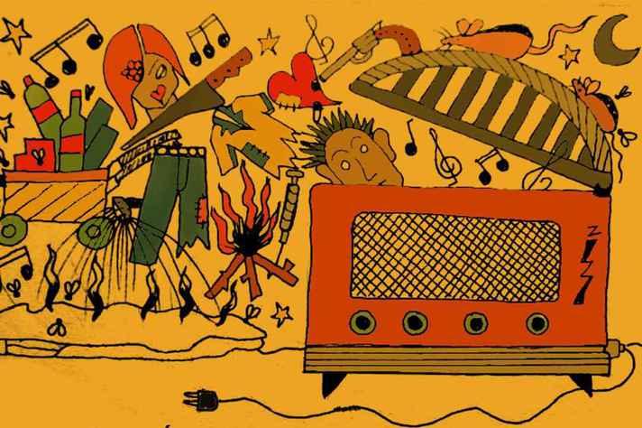 Arte da radionovela, que tem como temática a vida das pessoas em situação de rua
