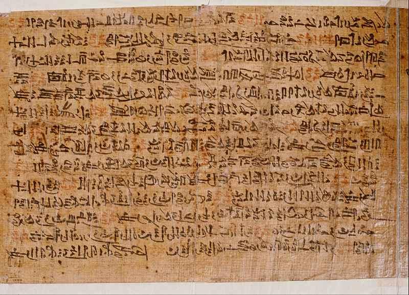 Papiro egípcio antigo mantido no Museu Nacional de Antiguidades de Leiden, nos Países Baixos