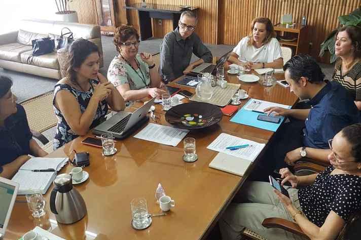 Integrantes do Comitê Permanente de Acompanhamento das Ações de Prevenção e Enfrentamento do novo Coronavírus debatem medidas com reitora e vice-reitor