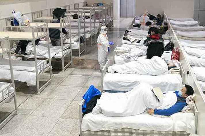 Hospital improvisado em Wuhan, na China, onde foram identificados os primeiros casos da covid-19