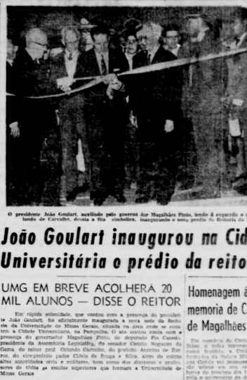 Estado de Minas noticia inauguração do prédio da Reitoria pelo então presidente João Goulart, em 27 de outubro de 1962
