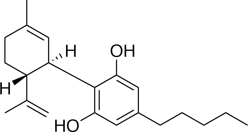 Representação da estrutura química do canabidiol: