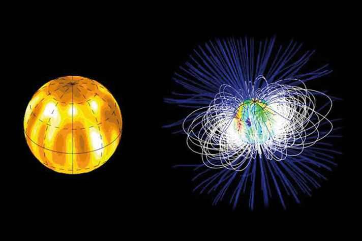 Estrelas jovens são extremamente ativas e apresentam, em suas superfícies, manchas e campos magnéticos de ordens de magnitude maiores e mais fortes do que os do Sol. Essa atividade gera na luz observada das estrelas jovens perturbações muito maiores do que o movimento induzido por planetas em órbita, o que torna muito difícil a detecção desses planetas, mesmo em caso de planetas gigantes com órbitas próximas à estrela. Para recuperar o sinal do planeta, astrônomos necessitam modelar com precisão a distribuição de manchas e os campos magnéticos em larga escala de estrelas jovens usando técnicas tomográficas inspiradas no imageamento médico. A distribuição de manchas (à esquerda) e o campo magnético em larga escala (à direita) de V830 Tau foram reconstruídos com base em conjunto de dados levantados pelo grupo do qual a professora Silvia Alencar é integrante