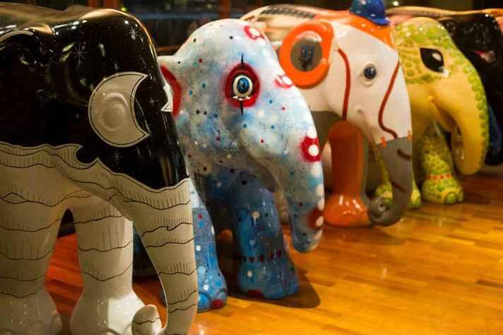 Obras da edição da 'Elephant Parade', em São Paulo