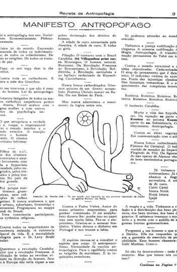 Página da publicação original do Manifesto Antropófago em 1º de maio de 1928.
