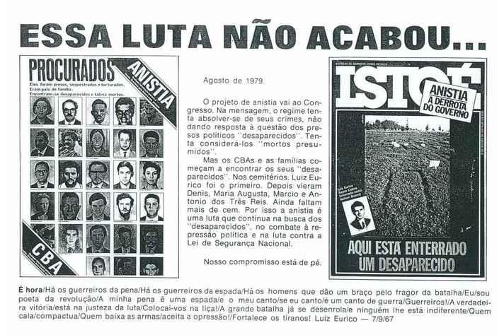 Cartaz do Comitê Brasileiro pela Anistia e reportagem sobre a busca de corpos de desaparecidos políticos