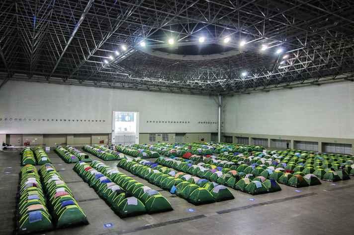 Área de camping no Expominas: marca da Campus Party