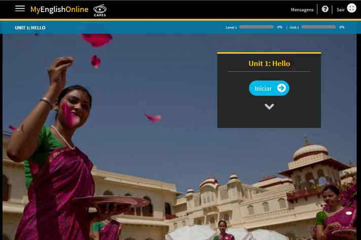 Instruções de navegação aparecem na tela da plataforma