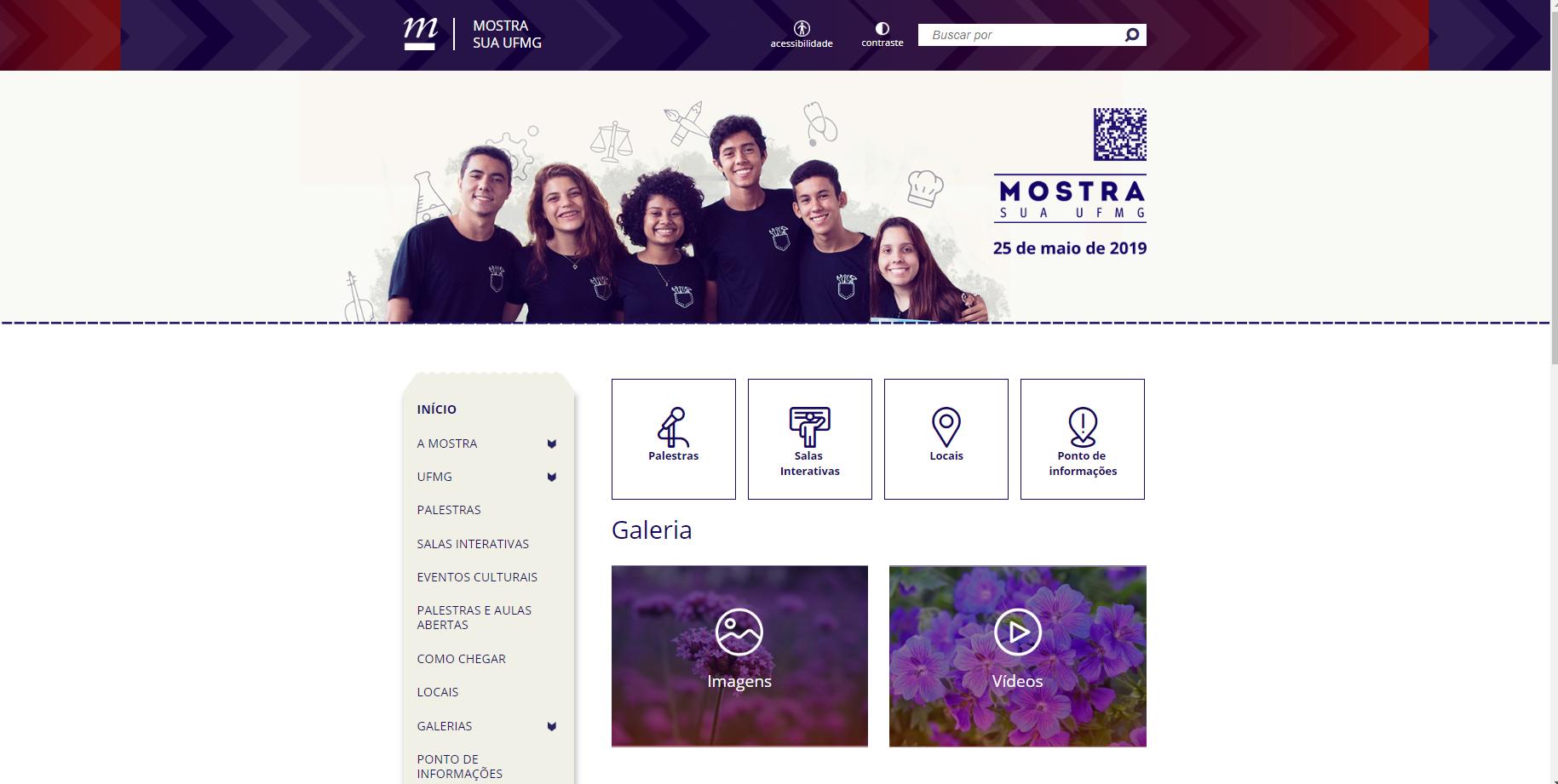 Tela do site da Mostra Sua UFMG, projetado para ampliar os laços entre a Universidade a comunidade escolar do ensino médio