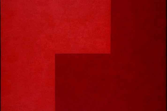Vermelho/vermelho, de Aluísio Carvão (óleo sobre  Eucatex, 1959). Coleção particular (RJ)
