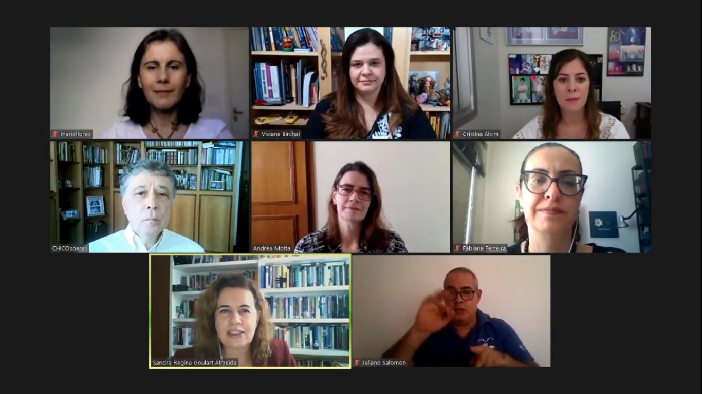 Dirigentes e professores da UFMG em fórum on-line realizado em agosto que discutiu questões relacionadas ao ensino remoto emergencial