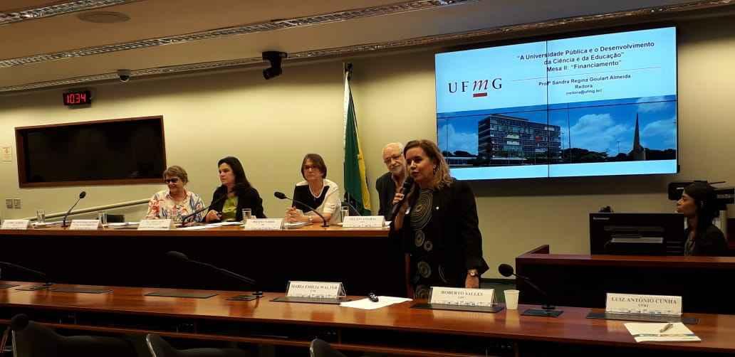 Sandra Goulart em sua apresentação na Câmara dos Deputados: