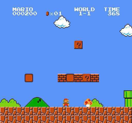Cena do game Super Mario Bros., Nintendo, 1985