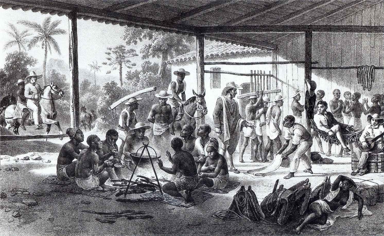 Pintura de Johann Moritz Rugendas retrata escravos em fazenda brasileira, em 1830