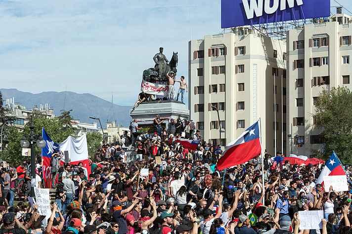 Protesto em Santiago, no Chile