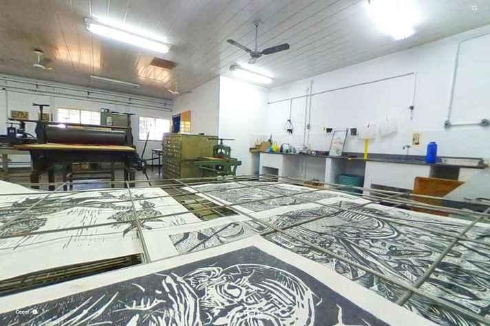 Imagem em 360º de ateliê da Escola de Belas Artes