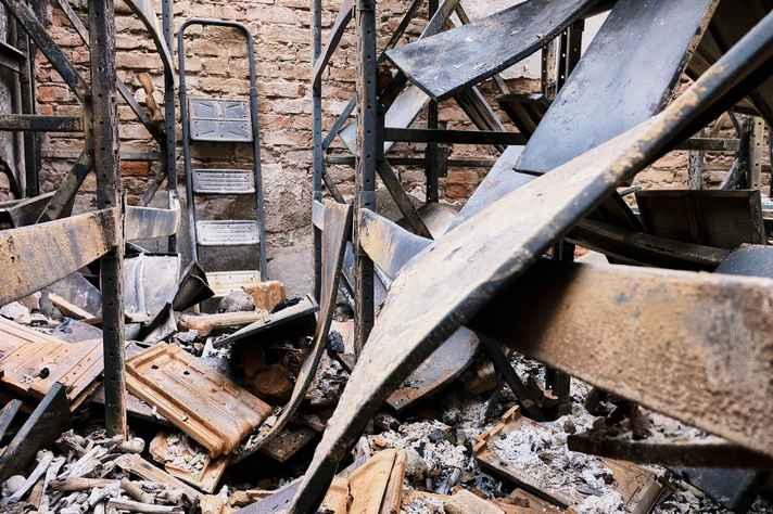 Área do Museu atingida pelo fogo