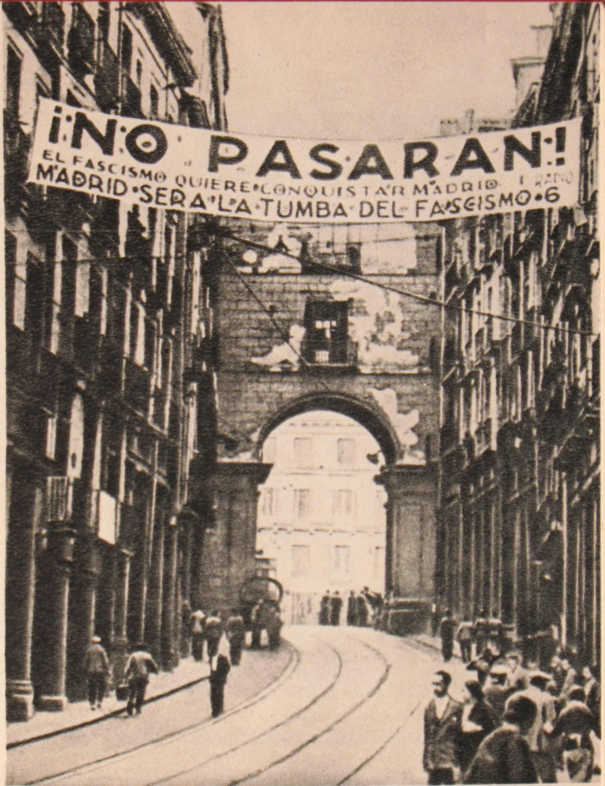 Cartaz republicano em que se lê, em uma rua de Madri: