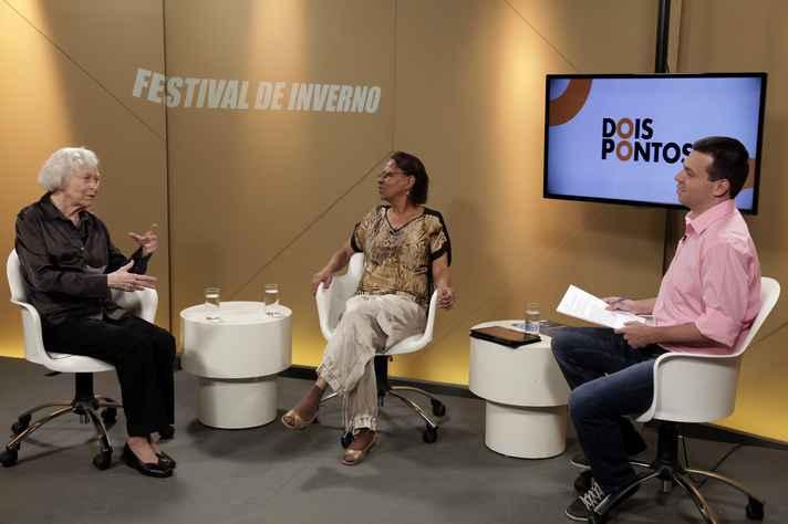 Berenice Menegale, Leda Martins e o apresentador Pablo Nogueira