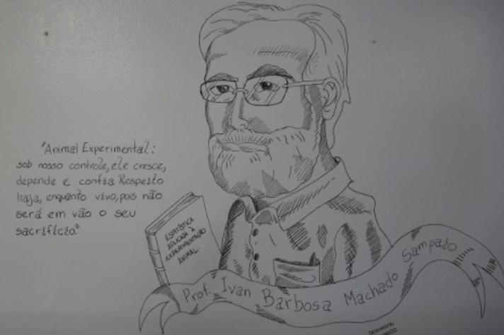 Reprodução da ilustração cientifica exposta no hall da Biblioteca da Escola de Veterinária.