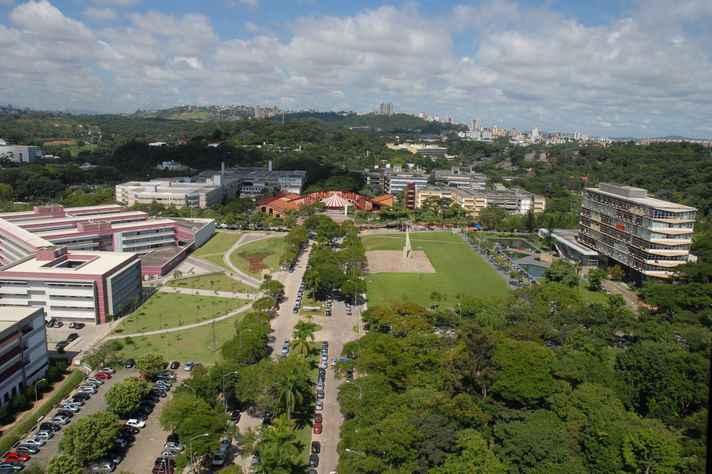 Vista aérea de parte do campus Pampulha da UFMG
