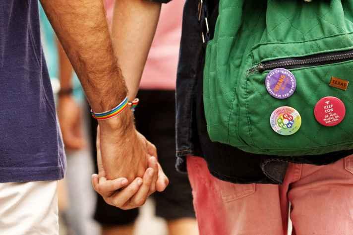 Participantes da 19ª Parada do Orgulho LGBT na Avenida Paulista, São Paulo – SP, Brasil