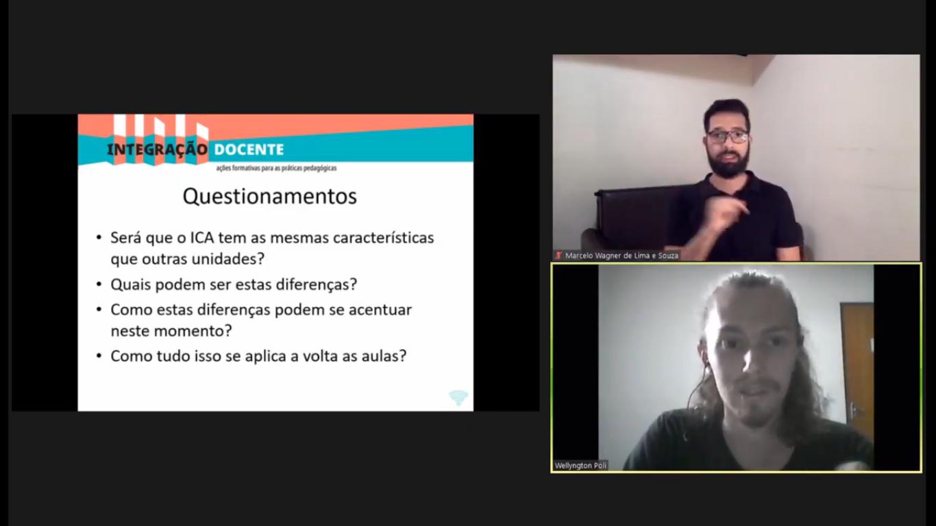Wellyngton Poli (abaixo) e o intérprete de Libras Marcelo de Lima e Sousa: solidariedade e compreensão