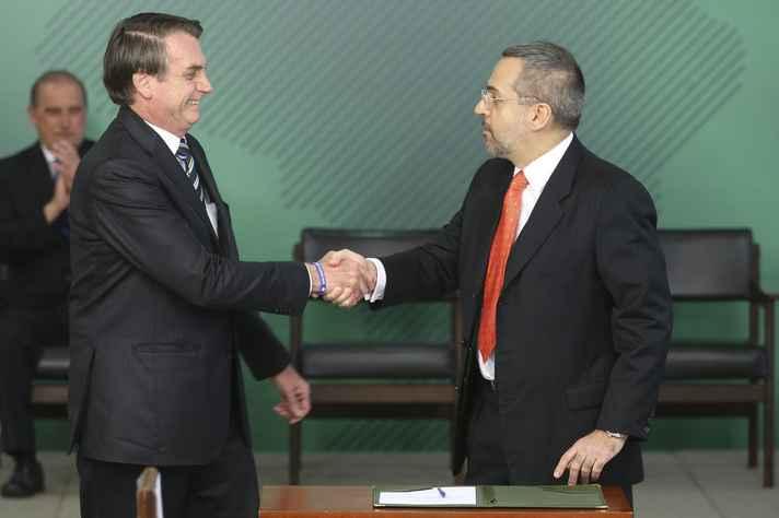 Presidente  Jair Bolsonaro e o ministro da Educação, Abraham Weintraub